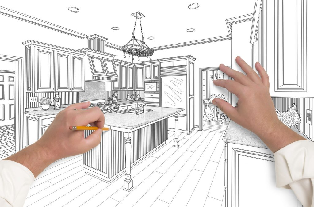 drawing design of kitchen remodel